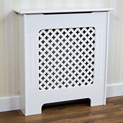 Picture of Vida Designs Oxford Radiator Cover Traditional White Painted MDF Cabinet - Small