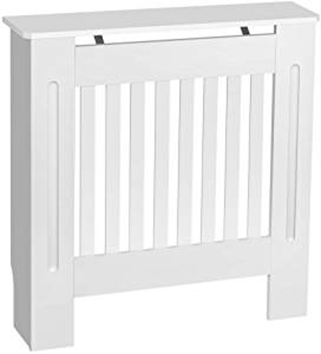 Picture of Finether Radiator Cover Cabinet Painted Vertical Modern Design Slatted White MDF Home Furniture (Small)