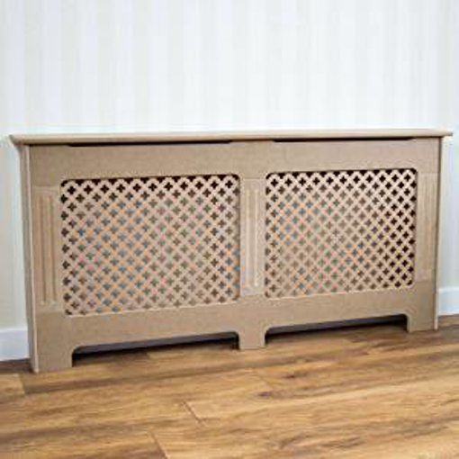 Picture of Vida Designs Oxford Radiator Cover Unfinished Traditional Unpainted MDF Cabinet - Medium