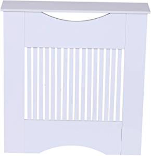 Picture of HOMCOM Painted MDF Radiator Cover Heater Cabinet Modern Slatted Home Furniture Lving Room Bedroom Worktop White 82H x 78W x 19D