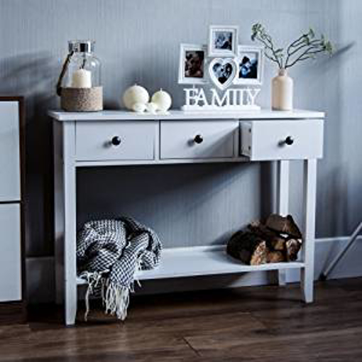Picture of Vida Designs Windsor 3 Drawer Console Table With Shelf
