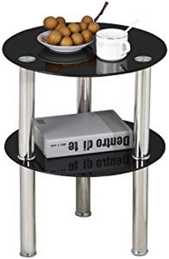 Picture of Yaheetech Small Round Glass 2 Tier Sofa Side End Table Stainless Steel Legs