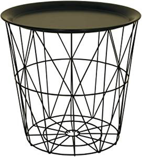 Picture of Modern Black Small Wire Side Table Metal Coffee End Side Table