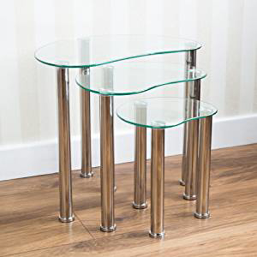 Picture of Vida Designs Cara Nest Of 3 Tables - Clear Glass Modern Furniture