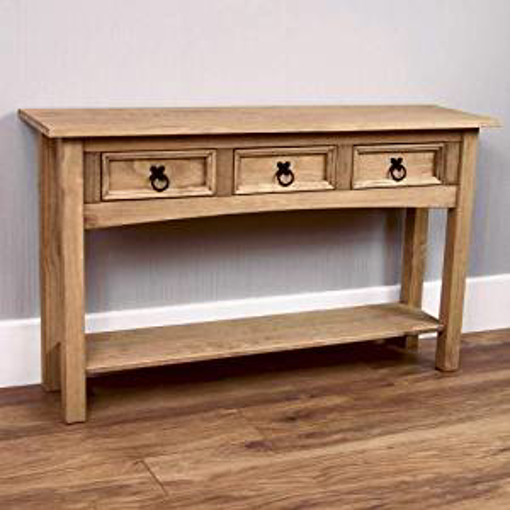 Picture of Vida Designs Corona Console Table - 3 Drawer With Shelf for Extra Storage - Solid Pine Wood