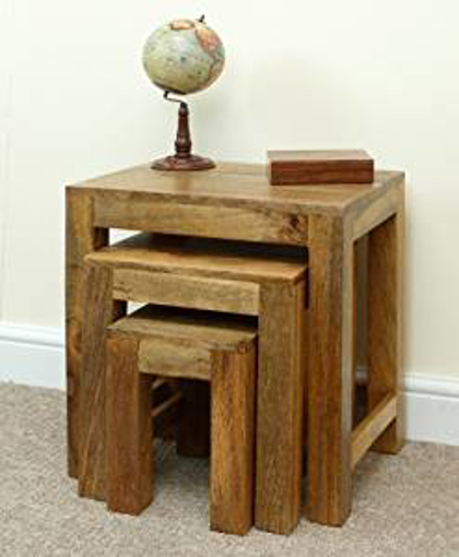 Picture of Mercers Furniture Mantis Nest of 3 Tables - Mangowood