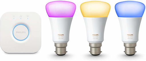 Picture of Hue Ambiance Starter Kit 3X B22 LED Bulbs (Works with Alexa), Synthetics, 9.5 W