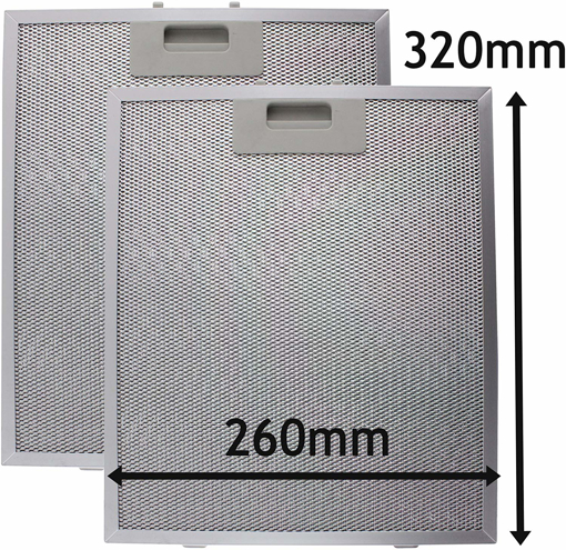 Picture of Cooker Hood Metal Grease Filter (Silver, 320 x 260mm, Pack of 2)