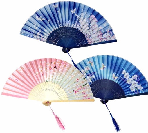 Picture of 3 Pack Folding Fans,Handheld Bamboo Silk Fabric