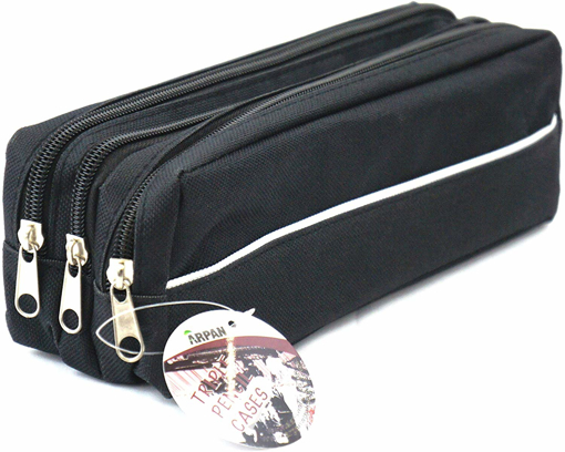 Picture of Triple Pocket Zip Rectangular Large Fabric Pencil Case