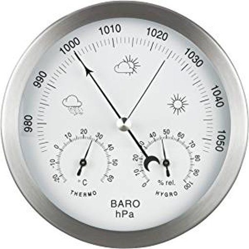 Picture of GardenMate 3 in 1 Weather Station for Indoor and Outdoor use - Barometer Thermometer Hygrometer - bimetallic with stainless steel frame - diameter 14 centimetre