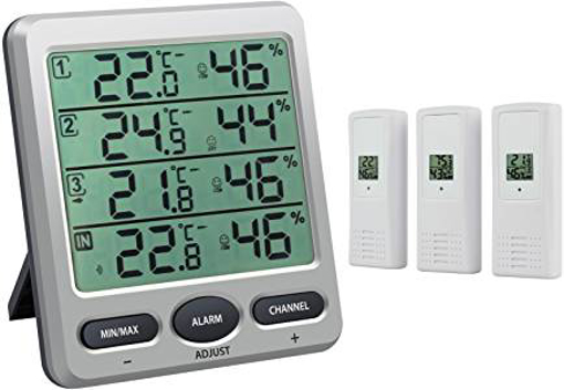Picture of Neoteck Wireless Digital Thermometer Hygrometer with 3 Remote Sensors LCD Digital Indoor Outdoor Humidity Temperature Meter Min/Max Value and Alarm for the Air Conditioning Hotel Hospital Laboratory
