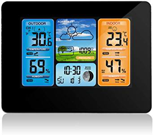 Picture of Houkiper Digital Color Forecast Weather Station with Alert Temperature/Humidity/Barometer/Alarm/Weather Clock - Wireless Weather Station for Indoor Outdoor (Black)