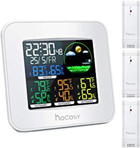Picture of HOCOSY Wireless Weather Station 3 Channels Digital in & Outdoor Hygrometer Thermometer with 3 Outdoor Sensors - White - 2.4 x 5.9 x 5.1