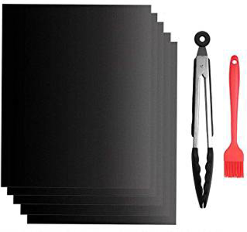 """Picture of GoFriend BBQ Grill Mat Set of 5 - Non-stick Barbecue Grill & Baking Mats for Baking on Gas - Charcoal - Oven and Electric Grills - Free 12"""" BBQ Tongs and Silicone Brush"""