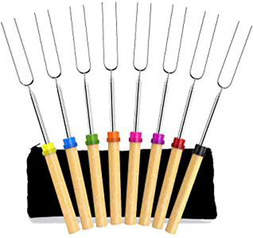 Picture of Angker Roasting Sticks - Marshmallow Roasting Sticks 32 Inch Extendable Forks for BBQ at the Campfire - Set of 8