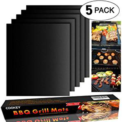 Picture of Cookey BBQ Grill Mat Set of 5- Non Stick Oven Liner Teflon Cooking Mats Perfect for Baking on Gas Charcoal Oven and Electric Grills Reusable Durable Heat Resistant Barbecue Sheets For Grilling Meat