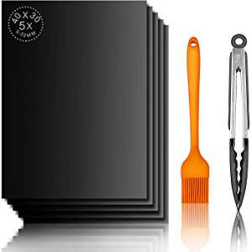 Picture of BBQ Grill Mat - TTKLLLL Barbecue Mat Set of 5 - Non Stick Baking Mats with Barbecue Tongs and Silicone Brush - FDA Approved Reusable - Durable Grilling Sheets For Charcoal - Gas or Electric Grill for Food