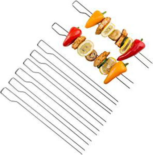 Picture of Bruzzzler 200100001152 Double Set with 8 Stainless Steel Grill Skewers - Silver - 39.5 x 9.5 x 4.5 cm