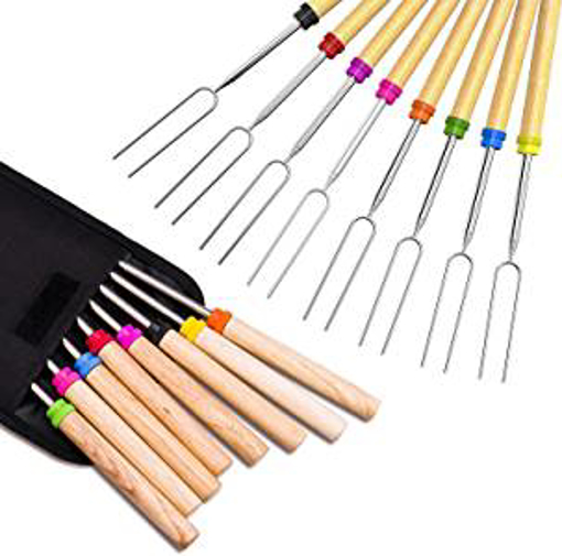 Picture of Newthinking Roasting Sticks - Marshmallow Roasting 32 Inch Telescopic BBQ Roasting Forks - Stainless Steel with Coloured Wooden Handle - Hot Dog Forks Barbecue Accessories With Carrying Bag for Camping