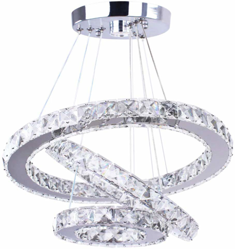 Picture of Modern LED Chandeliers Crystal 3 Rings Ceiling Lights Adjustable Stainless