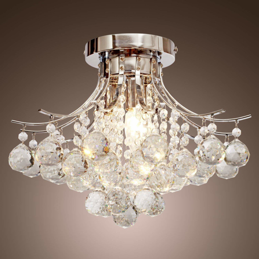 Picture of Crystal Raindrop Chandelier Lighting Flush Mount LED Ceiling Light
