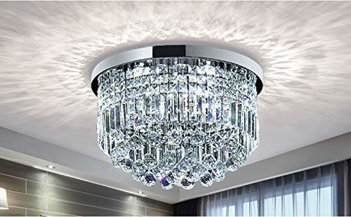 Picture of Clear Crystal Raindrop Chandelier Lighting Flush Mount LED Ceiling Light