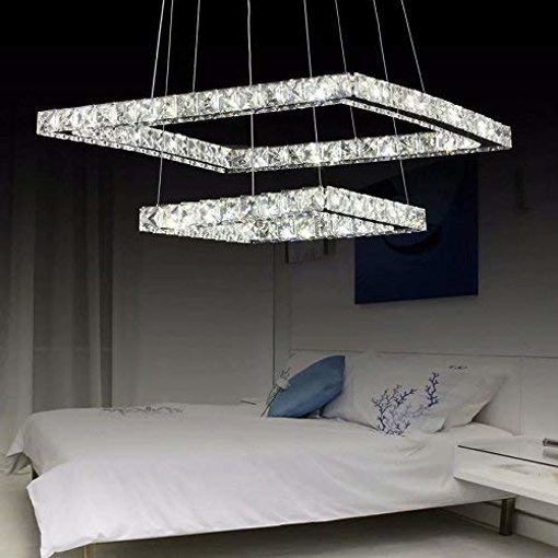 Picture of Luxury Modern Crystal LED Chandelier, Modern Square Stainless Steel