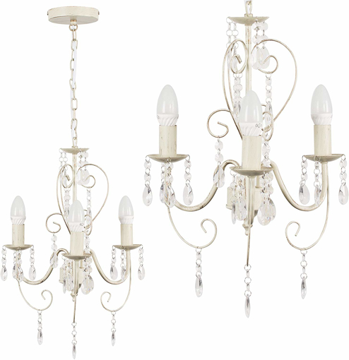 Picture of Distressed Cream Ornate Vintage Style Shabby Chic 3 Way Ceiling Light