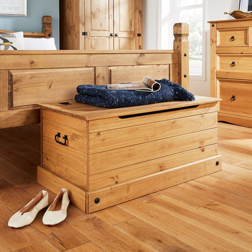Picture of Home Source Corona Solid Pine Ottoman Single