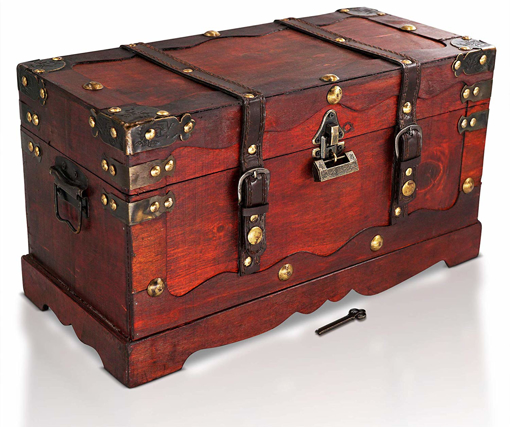 Picture of Pirate Treasure Chest Storage Box - Durable Wood & Metal Construction -