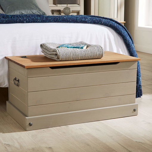 Picture of Home Source Solid Wood Ottoman Storage Chest