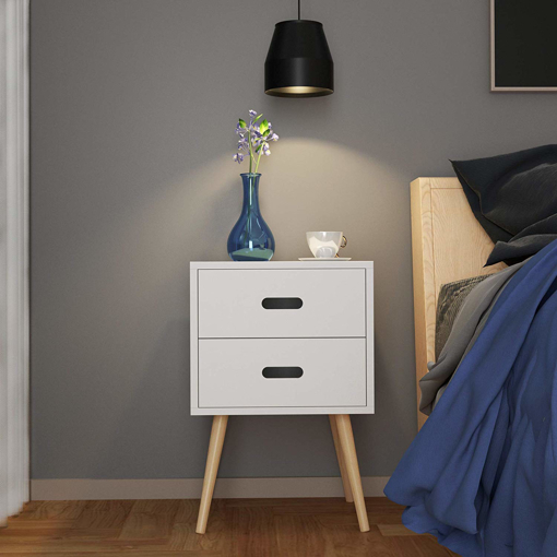 Picture of MDF Retro 2 Drawer Bedside Side Table Storage Unit, Wood