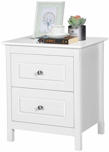 Picture of Shabby Chic Bedside Table White 2-Drawer Rectangular
