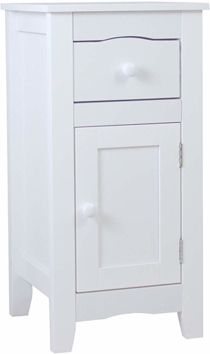 Picture of Slimline Drawer and Cupboard Bedside Table Cabinet Wooden Storage