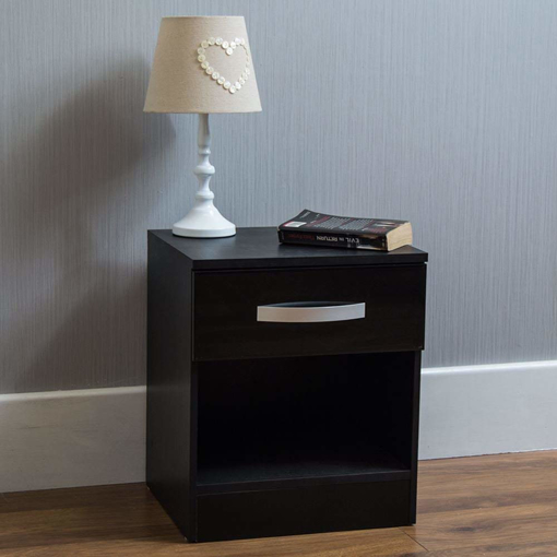 Picture of Hulio High Gloss Bedside Cabinet Black,