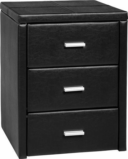 Picture of Prado 3 Drawer Bedside Chest, Black Faux Leather,