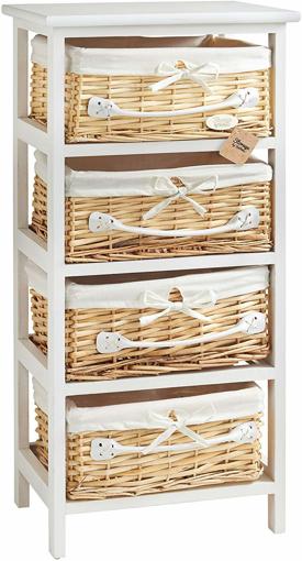 Picture of 4 Drawer Unit - Wicker Basket Storage - For Bedroom or Bathroom
