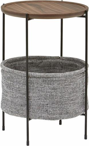 Picture of Meeks Storage Basket Side Table, 42 x 60cm, Walnut/Grey Fabric