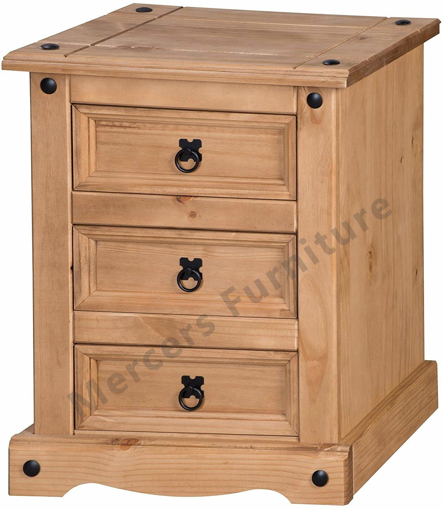 Picture of Corona Chunky 3 Drawer Bedside Cabinet Table Light Fiesta Wax