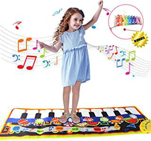 Picture of Joy-Fun Gifts for 2-5 Year Old Girls Boys Kids Piano Mat Xylophone Set Play Mats for Floor Dance Mat Baby Musical Instruments Electronic Toy 115 x 40 CM Playmat Birthday Presents for Toddlers