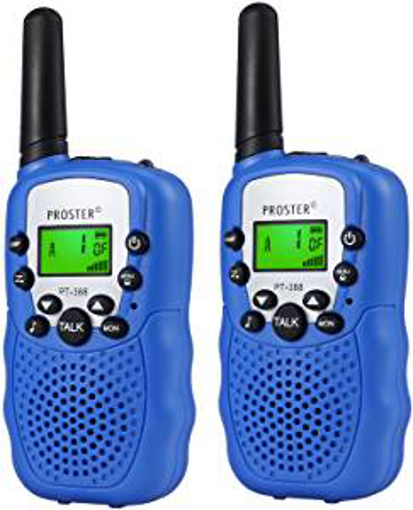 Picture of Children Walkie Talkies 2 pcs Long Range Kids Walky Talky UHF 446MHz 8 Channels License Free Two-Way Radios with LED Light on The Top (Dark Blue)