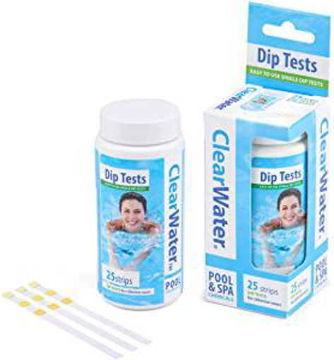 Picture of Clearwater CH0012 25 Dip Test Strips for Swimming Pool and Spa Treatment