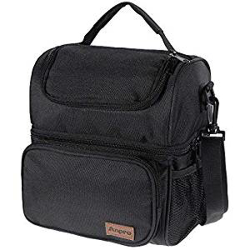 Picture of Anpro Lunch Bag – Cool Bag for Lunch - Lunch Bag for Adults with Adjustable Shoulder Strap - for Carrying Lunch Box - Lunch Kit for Camping - Fishing - Barbecues - Black(24x20x14.5cm)