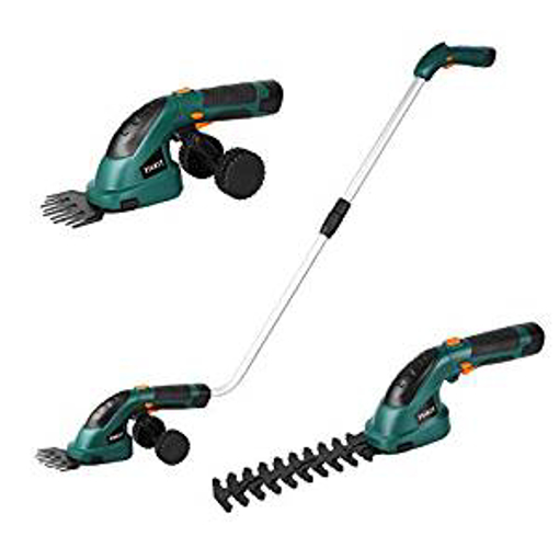 Picture of Fixkit 7.2V 2 in 1 Cordless Grass and Hedge Trimmer - 2 Interchangeable Blades - Battery Powered Lightweight Electric Trimmer -Telescopic Handle & Trolley Wheel Attachments