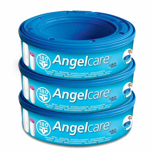 Picture of 3 x Angelcare Nappy Disposal System Refill Cassettes Wrappers Bag Sacks Pack Bin
