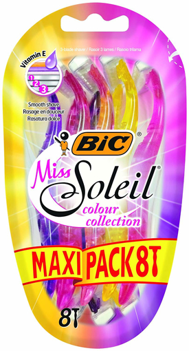 Picture of BIC Miss Soleil Colour Collection Lady Razors Maxi Pack of 8 triple-blade shaver