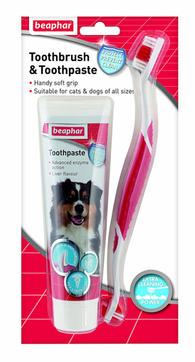 Picture of Beaphar Dog Puppy Cat Toothbrush and Toothpaste Kit 100g Dental Breath Care