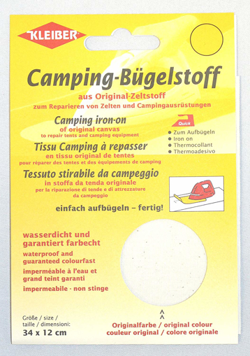 Picture of Kleiber 100 Percent Cotton Canvas Tent with Awning Iron on Repair Patch - White