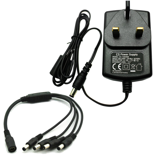 Picture of AC 100-240V to DC 12V 2A Power Supply Adapter with 4 Split Power Cable for CCTV